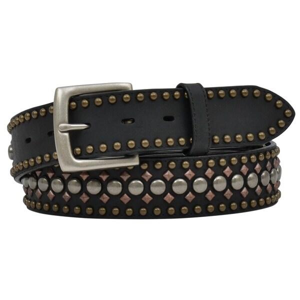 3D Belt Mens Western Crackle Leather Roller Studs Black