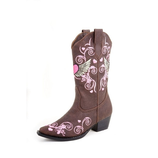 6f48b9898ce Roper Western Boots Girls Heart Snip Brown Vintage