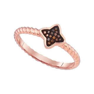 10k Pink Rose Gold Red Colored Natural Diamond Cluster Womens Unique Small Ring 1/20 Cttw