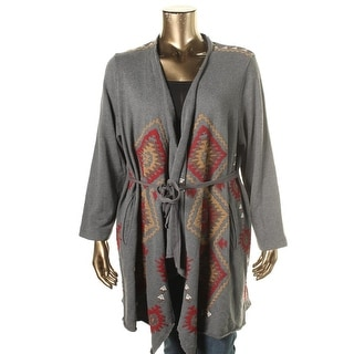 JW Los Angeles Womens Plus Embroidered Tie Closure Cardigan Sweater - 1X