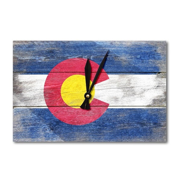 Rustic Colorado State Flag - LP Artwork (Acrylic Wall Clock) - acrylic wall clock