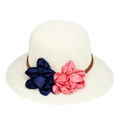 Lady Women Summer Beach Sun Floppy Wide Brim Straw Hat Cap White