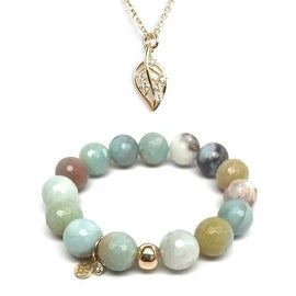 "Green Amazonite 7"" Bracelet & CZ Leaf Gold Charm Necklace Set"