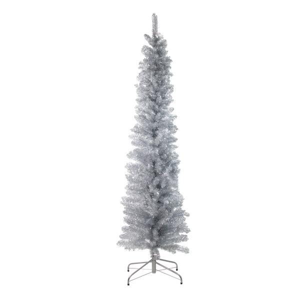 "6' x 20"" Silver Tinsel Artificial Pencil Christmas Tree - Unlit"