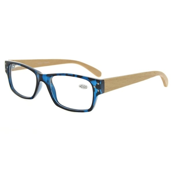 5d52ee9cc43 Eyekepper Spring Hinges Wood Arms Reading Glasses Men Women Blue-DEMI +0.5