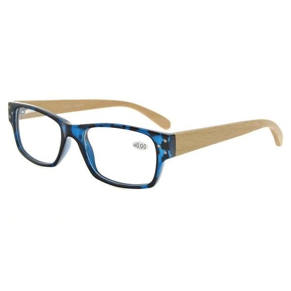 Eyekepper Spring Hinges Wood Arms Reading Glasses Men Women Blue-DEMI +2.75