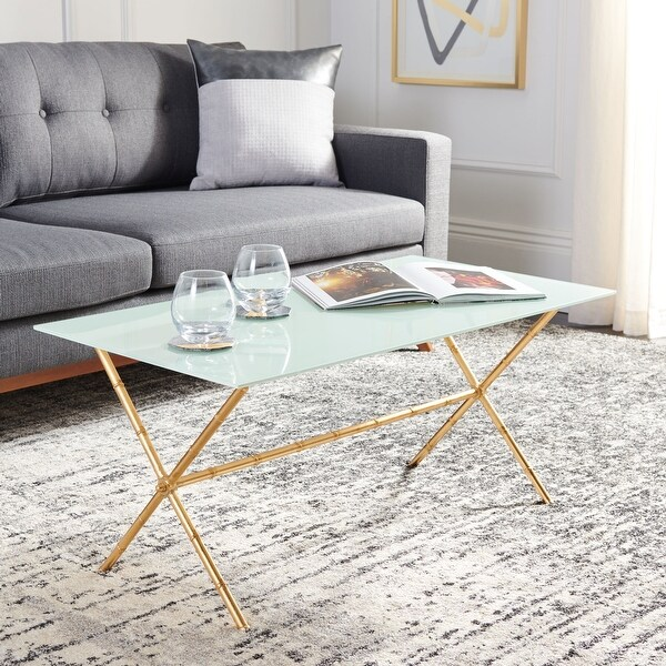 """SAFAVIEH Treasures Brogen Gold/ White Top Accent Table - 37.4"""" x 21.7"""" x 17"""". Opens flyout."""