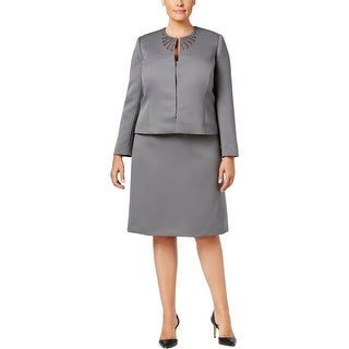 Tahari ASL Womens Plus Skirt Suit Embroidered 2PC - 18W