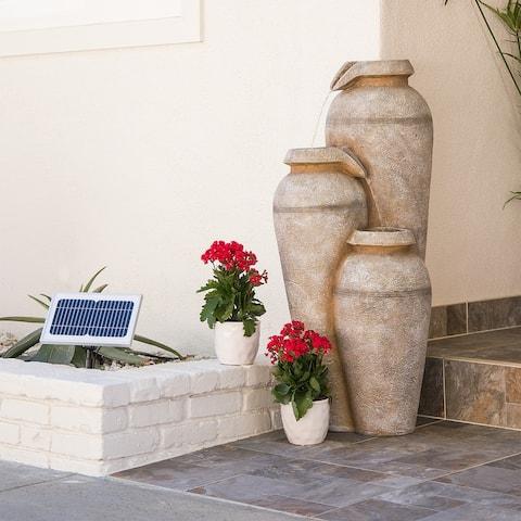 Alpine 43-Inch Solar Cascading Vase Fountain with LED Lights