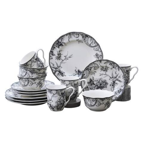 222 Fifth Adelaide 16-Piece Porcelain Dinnerware Set, Black
