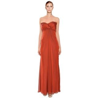 Vera Wang  Empire Waist Strapless Evening Dress Gown - Red - 10