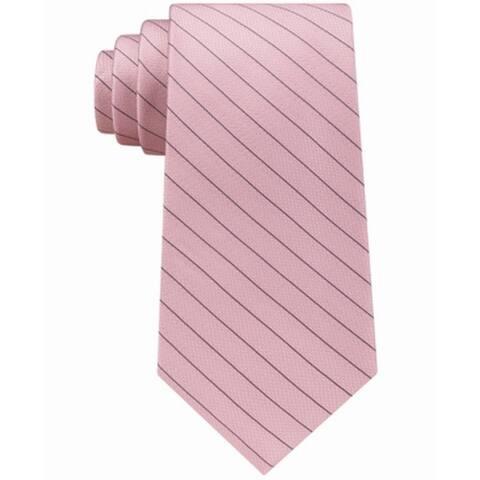 d0c526a7 Calvin Klein Pink Men's One Size Seed Stripe Slim Silk Neck Tie
