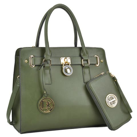 Dasein Large Faux Saffiano Leather Padlock Satchel w/ Matching Wallet
