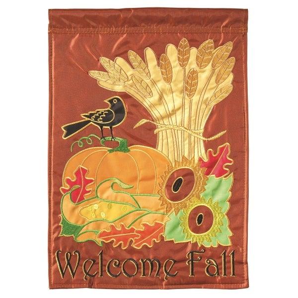 "13"" x 18"" Harvest Crow Cornstalk Pumpkin Autumn Garden Flag - N/A"