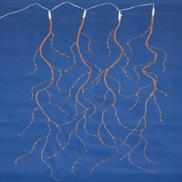 Set of 288 Orange LED Angel Tear Drop Branch Icicle Christmas Light Curtain