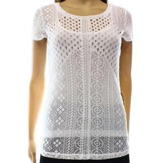 INC NEW White Women's Size Large L Lace Illusion Knit Blouse Set