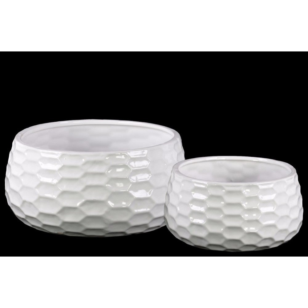 Ceramic Round Bowl-shaped Pot with Honey Comb Design, Set of Two, White
