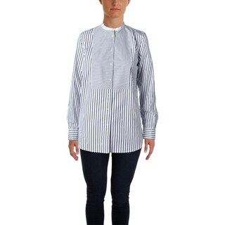 Lauren Ralph Lauren Womens Petites Button-Down Top Collarless Striped