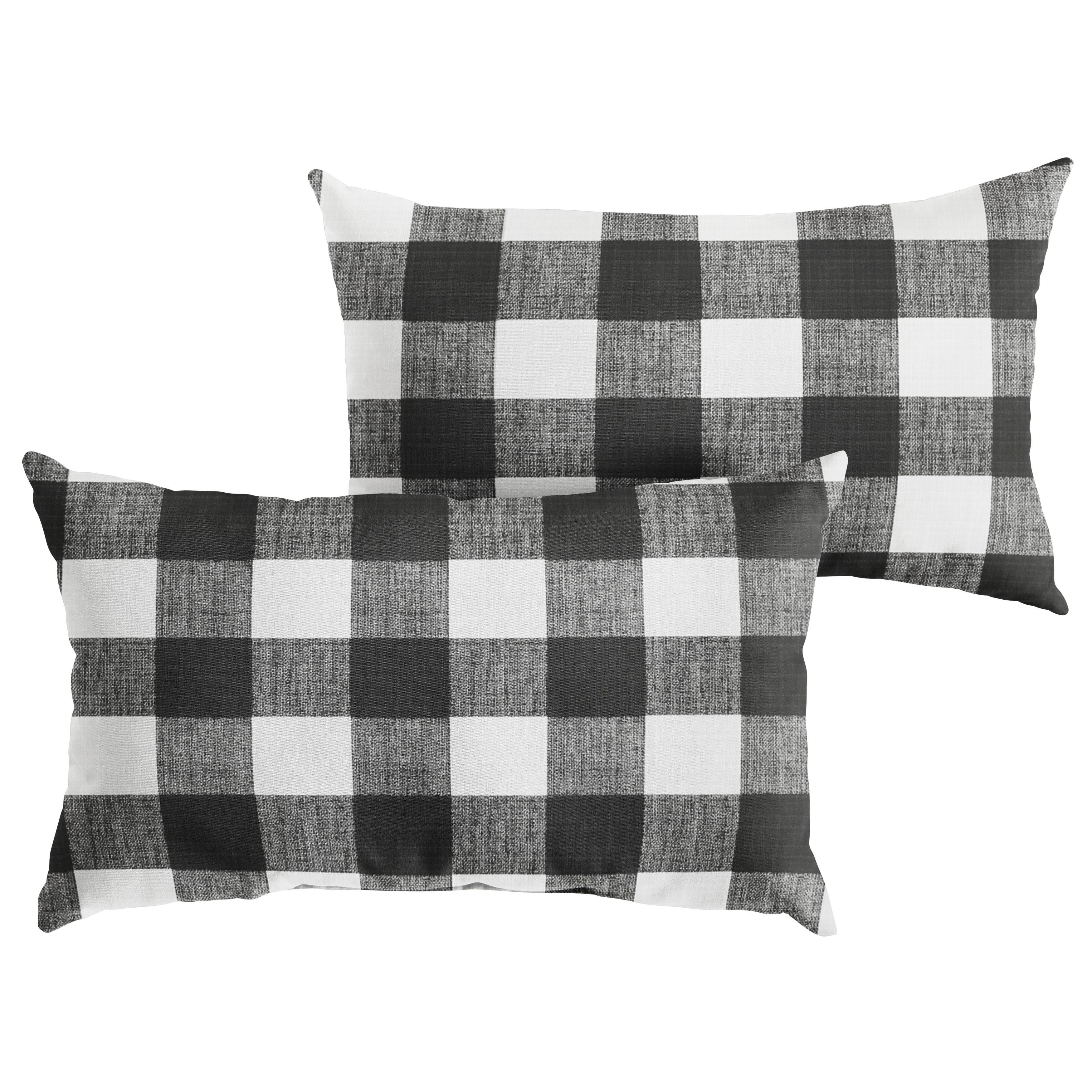 Humble Haute Black Buffalo Plaid Indoor Outdoor Lumbar Pillow Set Of 2 On Sale Overstock 21033830