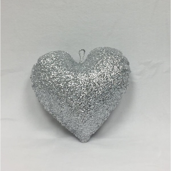 "16"" Sparkly Silver Inflatable Tinsel Heart Christmas Ornament"