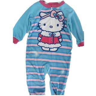 Hello Kitty Little Girls Sky Blue Striped Cat Print Zipper Bodysuit 2T-4T (3 options available)
