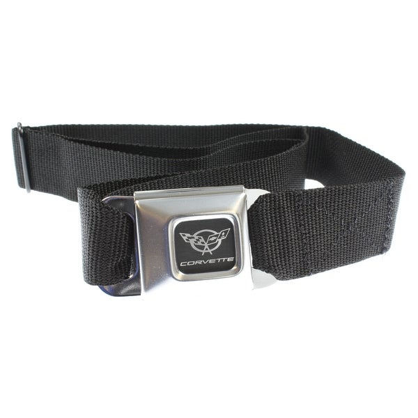 Corvette C5 Seatbelt Buckle Black Strap Belt, Official Licensed-Holds Pants Up