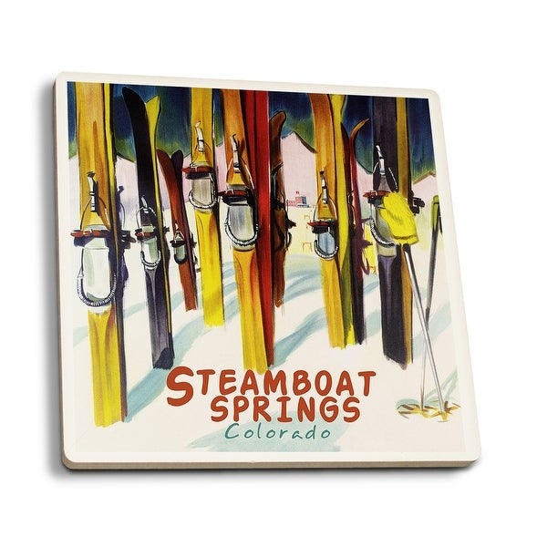 Steamboat Springs, CO - Colorful Skis - LP Artwork (Set of 4 Ceramic Coasters)