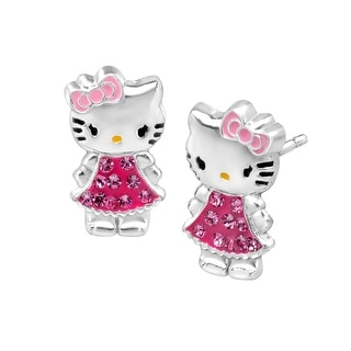 Hello Kitty Stud Earrings with Swarovski Crystal in Sterling Silver - Pink