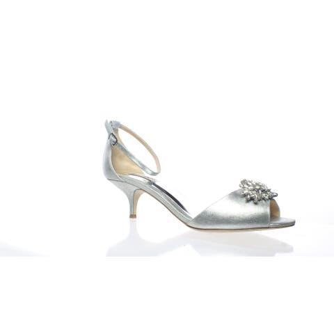 Badgley Mischka Womens Sainte Silver Ankle Strap Heels Size 9