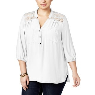 NY Collection Womens Plus Blouse Chiffon Lace Inset