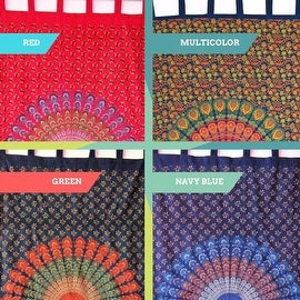 Handmade Floral Mandala Peacock 100% Cotton Tab Top Curtain Drape Panel 44x88