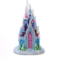 "5"" Ice Palace Battery Operated LED Princess Castle Christmas Ornament - BLue"