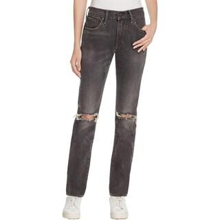 Levi's Womens Straight Leg Jeans Slim Destroyed