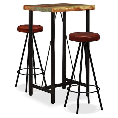 vidaXL Bar Set 3 Pieces Solid Reclaimed Wood and Genuine Leather