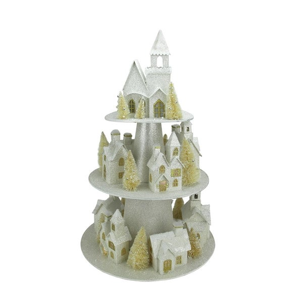 "25"" Lighted Champagne Gold 3-Tier Christmas House Display"