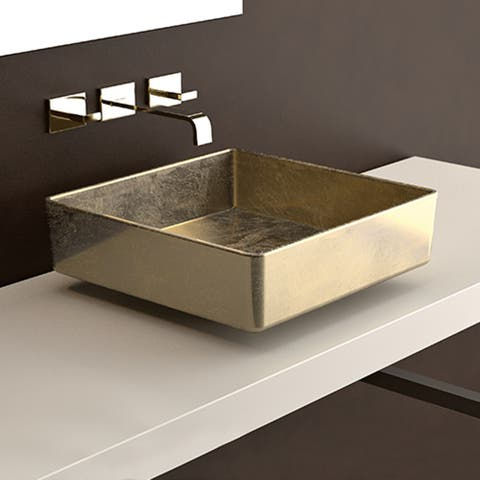 """WS Bath Collections Four Lux Paths of Water 15-11/16"""" Square Glass"""