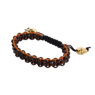 Links Men's Orange Two-Row Bracelet in Matte PVD Plate - Black