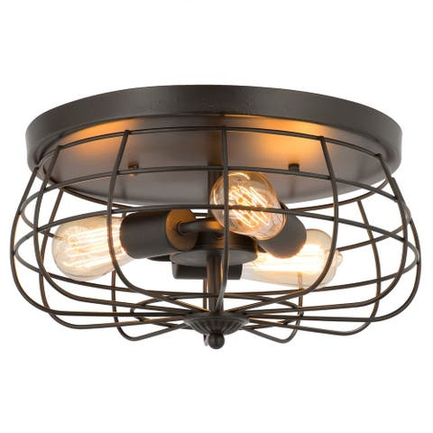 CO-Z 15-inch Industrial 3-light Metal Cage Ceiling Flush Mount