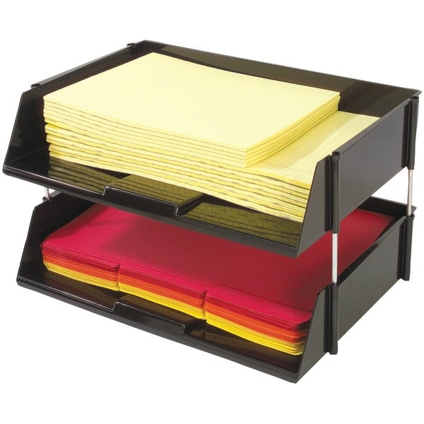 Deflecto 582704 Industrial Tray(Tm) Side-Load Stacking Trays With Risers, 2 Pk