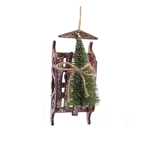 """6"""" Country Rustic Brown Snow Sled with Sisal Tree Decorative Christmas Ornament"""