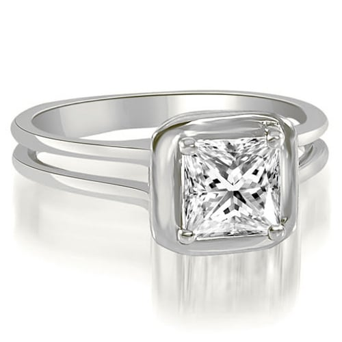0.75 cttw. 14K White Gold Split Shank Halo Princess Cut Diamond Engagement Ring