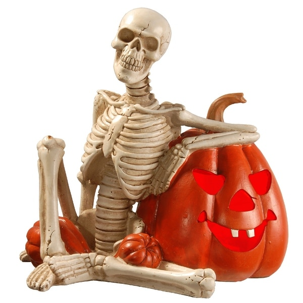 """9"""" Pre-lit Skeleton and Pumpkin Halloween Decor – Battery Operated LED Lights - N/A"""