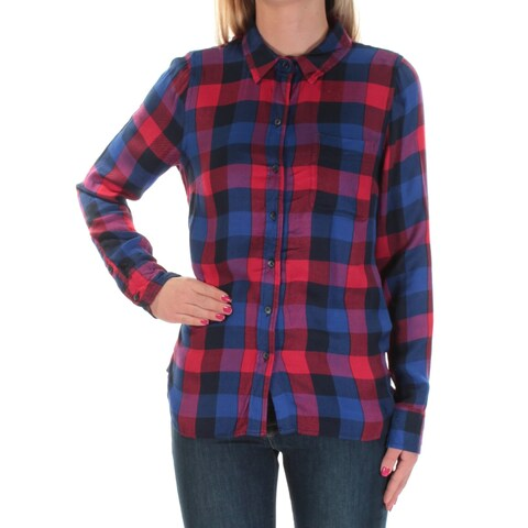 LUCKY BRAND Womens Blue Plaid Cuffed Collared Top Size: XS