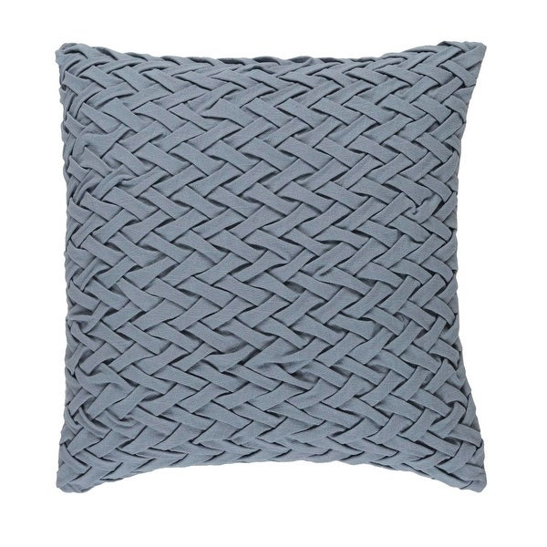"22"" Rainy Day Gray Woven Decorative Square Throw Pillow - Down Filler"