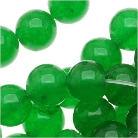 Green Candy Jade 6mm Round Beads / 15.5 Inch Strand