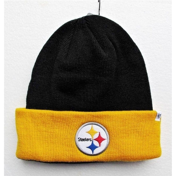 18506a56 47' Brand Basic 2Tone Cuff Knit Beanie Hat - Pittsburgh Steelers Black  Yellow