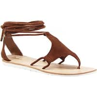 Diba True Women's This N That Ankle Strap Thong Sandal Chestnut Suede