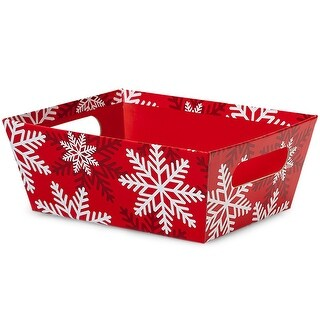 """Pack Of 6, Solid Red White Snowflake Large Wide Base Market Trays 5.5"""" X 7.5""""X 3.5"""" For Gourmet Gift Baskets, Food Baskets"""