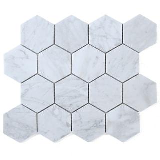 "Link to TileGen. 3"" Hexagon White Carrara Marble Mosaic Tile in White Floor and Wall Tile (10 sheets/8.6sqft.) Similar Items in Tile"