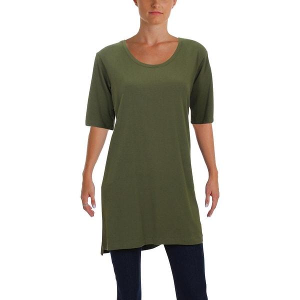 Eileen Fisher Womens Petites Tunic Top Scoop Neckline Casual